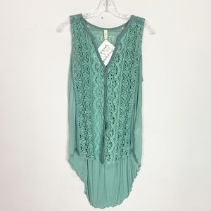 Anthropologie Tiny mint green eyelet tank top M